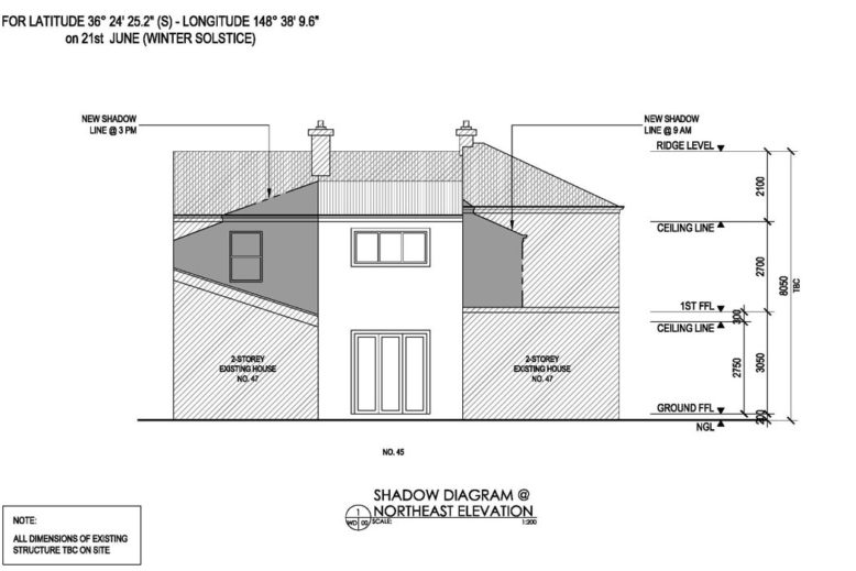 Shadow Diagram | 2- Storey Dwelling